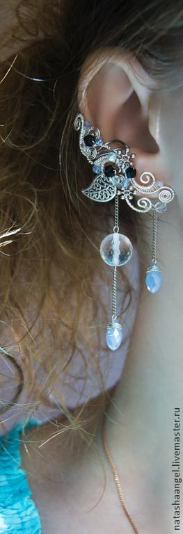 """Каффы ручной работы. Ярмарка Мастеров - ручная работа. Купить Кафф """"Воздушность"""" (бледно голубой цвет, голубые серьги ear cuff). Handmade."""