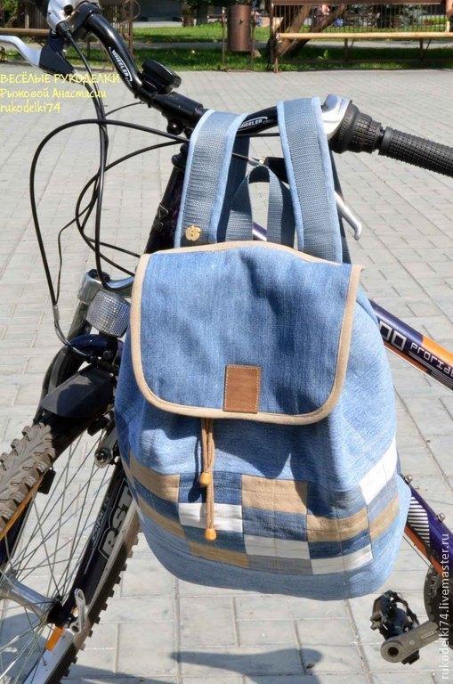 Рюкзаки ручной работы. Ярмарка Мастеров - ручная работа. Купить Джинсовый рюкзак. Handmade. Синий, текстильный рюкзак, для путешествий, подарок