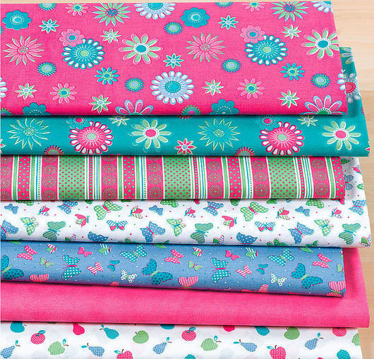 """Шитье ручной работы. Ярмарка Мастеров - ручная работа. Купить Набор ткани 7 шт. """"Цветок розовый/бирюзовый"""". Handmade."""