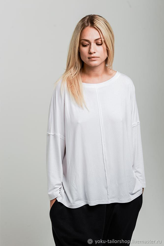 Пуловер оверсайз из бамбукового трикотажа белый, Пуловеры, Москва, Фото №1