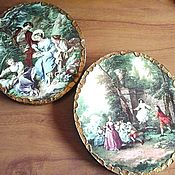 Картины и панно handmade. Livemaster - original item Vintage pictures-panels with gallant scenes. Handmade.