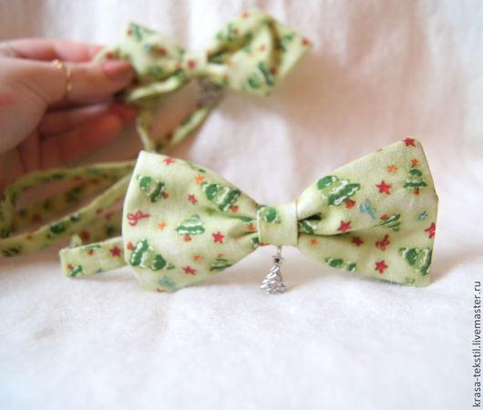 Галстуки, бабочки ручной работы. Ярмарка Мастеров - ручная работа. Купить галстук - бабочка Новогодняя. Handmade. Салатовый, галстук бабочка