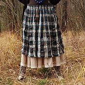 """Одежда ручной работы. Ярмарка Мастеров - ручная работа Бохо юбка """"Синяя клетка"""". Handmade."""