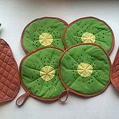 Для дома и интерьера ручной работы. Ярмарка Мастеров - ручная работа прихватки киви ананас. Handmade.