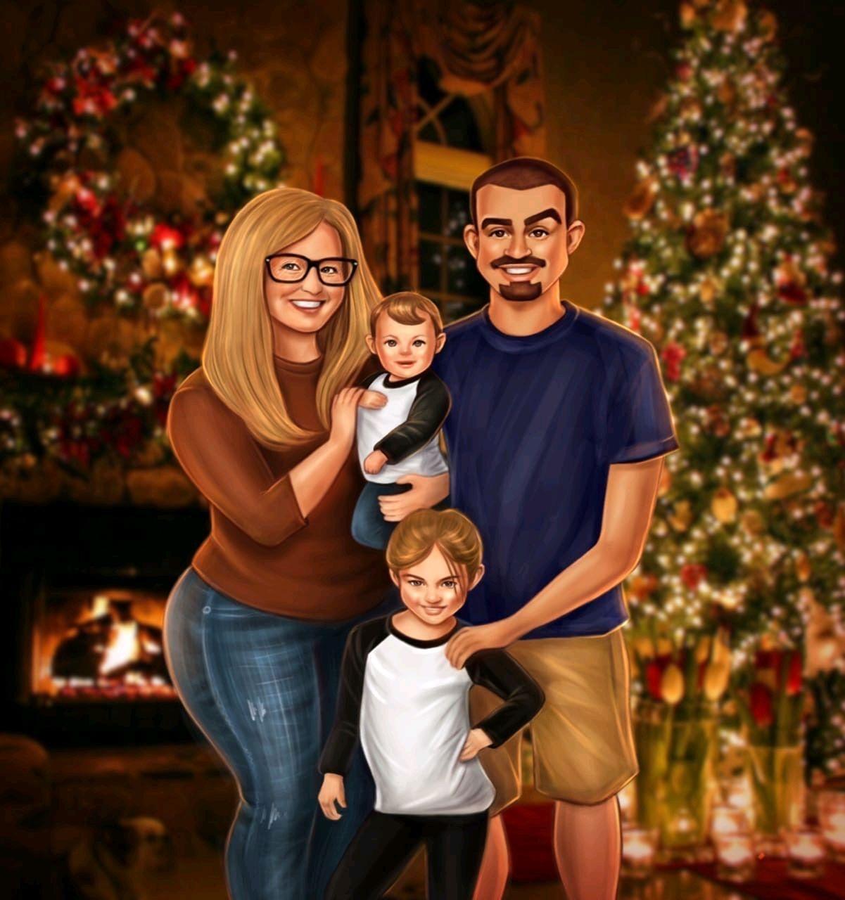 Семейный портрет в мультяшном стиле на заказ, Иллюстрации, Сочи,  Фото №1