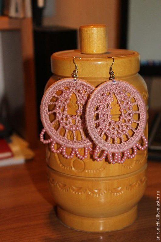 Серьги ручной работы. Ярмарка Мастеров - ручная работа. Купить Ажурные розовые серьги. Handmade. Розовый, серьги ручной работы