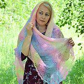 handmade. Livemaster - original item Shawls: Openwork scarf of Rainbow colors downy. Handmade.