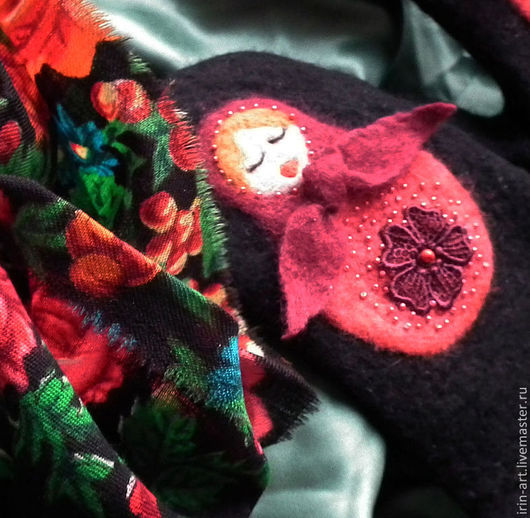 Варежки, митенки, перчатки ручной работы. Ярмарка Мастеров - ручная работа. Купить варежки валяные  Матрешки. Handmade. Черный, мороз