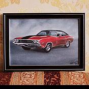 Картины и панно ручной работы. Ярмарка Мастеров - ручная работа Красный ретро автомобиль. Handmade.