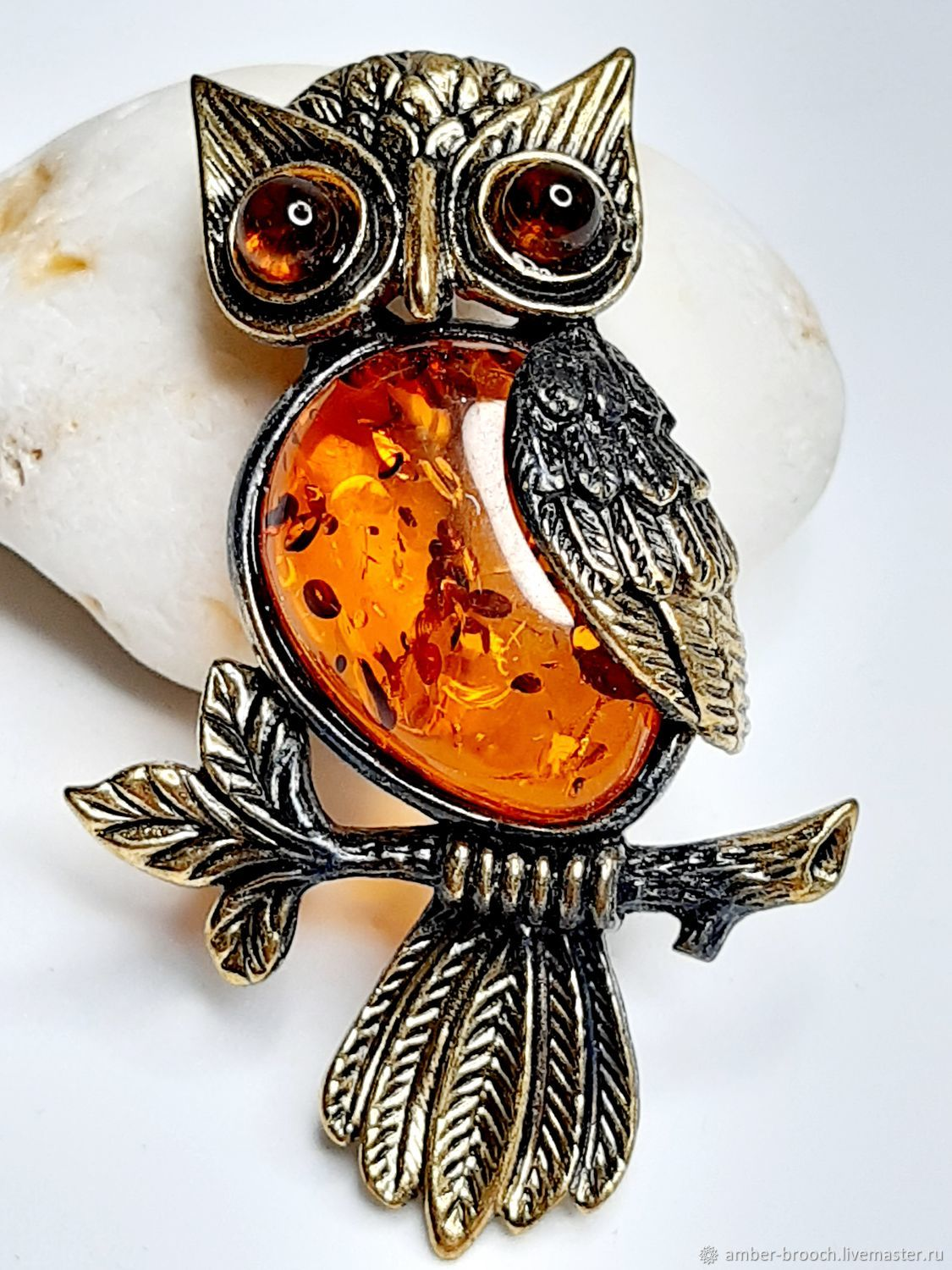 Owl brooch on a twig Night, Brooches, Moscow,  Фото №1