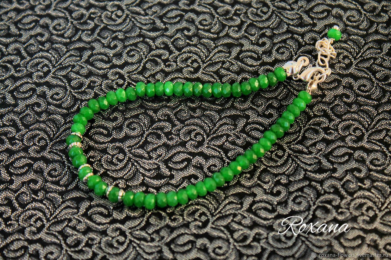 8b7095eb8936 El hilo de ariadna - fina pulsera de piedras naturales esmeralda. Roxana