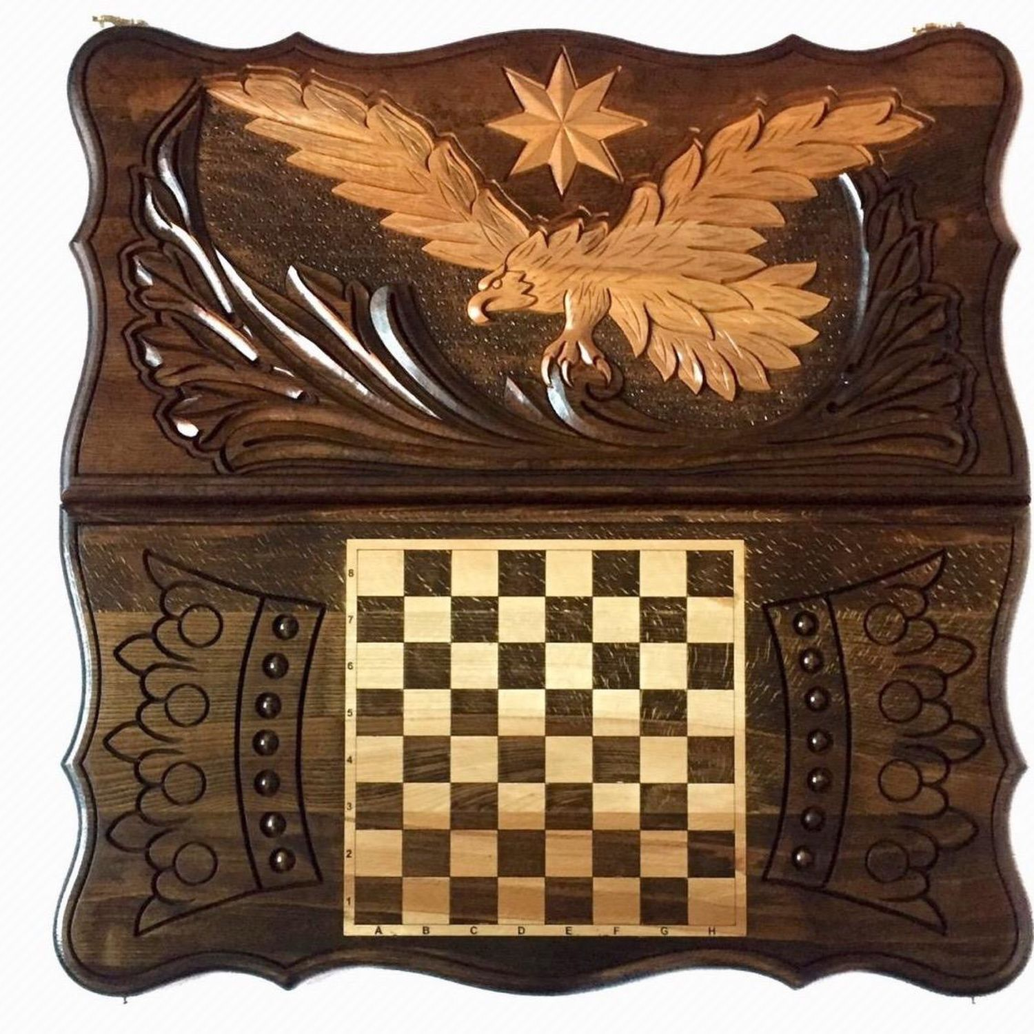 Backgammon carved 'eagle 1' Art. .010, Backgammon checkers, Moscow,  Фото №1