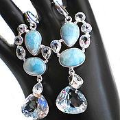 Серебряные серьги LOVELY LARIMAR ларимар топазы(КольцоБраслет)