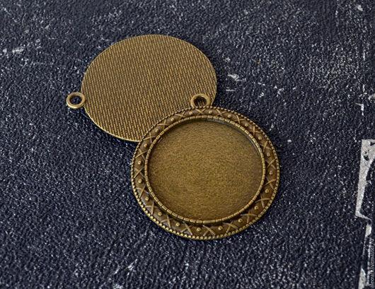 Для украшений ручной работы. Ярмарка Мастеров - ручная работа. Купить Основа сеттинг для кулона под кабошон ант.бронза 40мм. Handmade.