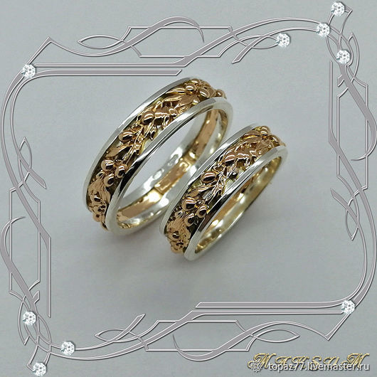 Rings/pair 'Olive branch' gold 585, silver 925, Rings, St. Petersburg,  Фото №1