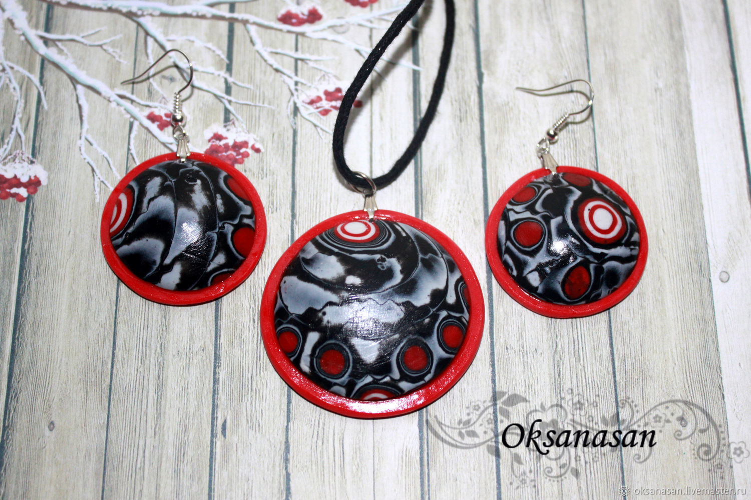 Jewelry sets: earrings and pendant Red and Black, Jewelry Sets, Moscow,  Фото №1