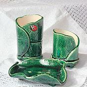Для дома и интерьера ручной работы. Ярмарка Мастеров - ручная работа Набор для ванной Зеленые листья. Handmade.