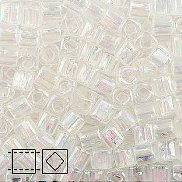 Materials for creativity handmade. Livemaster - original item 10g 3 mm cube 161 crystal Japanese TOHO beads transparent raduz. Handmade.