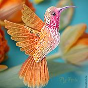 Украшения ручной работы. Ярмарка Мастеров - ручная работа миниатюрная брошь - птица колибри. Оранжевая.. Handmade.