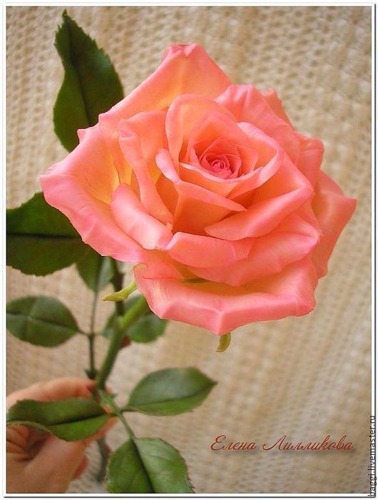 Цветы ручной работы. Ярмарка Мастеров - ручная работа. Купить Керамическая флористика.Розовая роза.. Handmade. Бледно-розовый