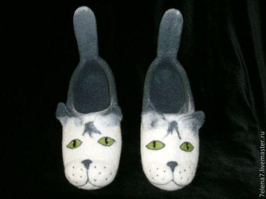"""Обувь ручной работы. Ярмарка Мастеров - ручная работа. Купить Тапочки """"Котэ"""". Handmade. Домашние тапочки, обувь для дома"""