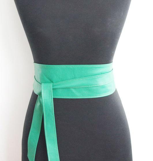 Пояса, ремни ручной работы. Ярмарка Мастеров - ручная работа. Купить Кожаный пояс, зеленый. Handmade. Зеленый, Пояс из кожи