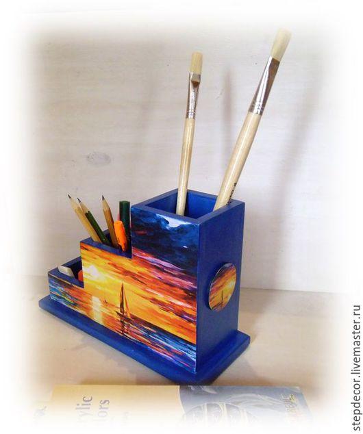 """Карандашницы ручной работы. Ярмарка Мастеров - ручная работа. Купить Карандашница """"Парусник на закате"""". Handmade. Тёмно-синий, карандашница в подарок"""