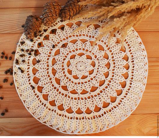 """Текстиль, ковры ручной работы. Ярмарка Мастеров - ручная работа. Купить Салфетка крючком """"Звездная"""". Handmade. Белый, Салфетка вязаная"""