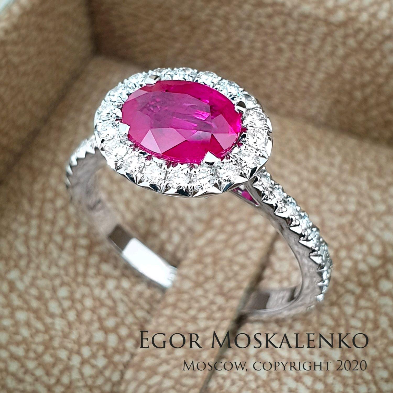 Кольцо с рубином и бриллиантами, Кольца, Москва,  Фото №1