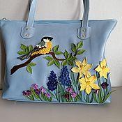 Сумки и аксессуары handmade. Livemaster - original item Leather bag. Spring Celebration Shopping Bag blue. Handmade.