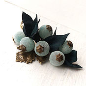 Украшения handmade. Livemaster - original item Brooch safety pin for scarf. Velvety berries in the leaves.. Handmade.