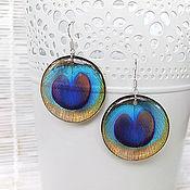 Украшения handmade. Livemaster - original item Transparent Earrings Peacock Feather Rainbow Bright Round. Handmade.