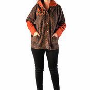 Одежда ручной работы. Ярмарка Мастеров - ручная работа V-куртка коричневая с капюшоном C3K. Handmade.