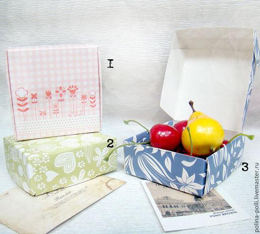 Упаковка ручной работы. Ярмарка Мастеров - ручная работа. Купить Коробочка с рисунком (зеленый/синий/розовый). Handmade. Подарочная упаковка, упаковка для мыла