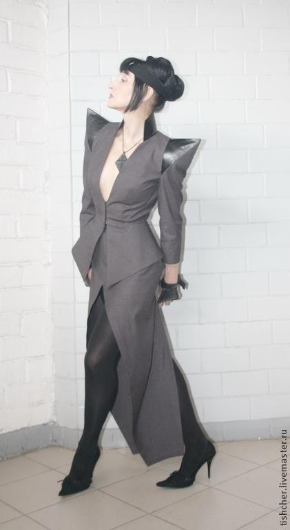 Костюмы ручной работы. Ярмарка Мастеров - ручная работа. Купить Деловой костюм в готическом стиле. Handmade. Темно-серый