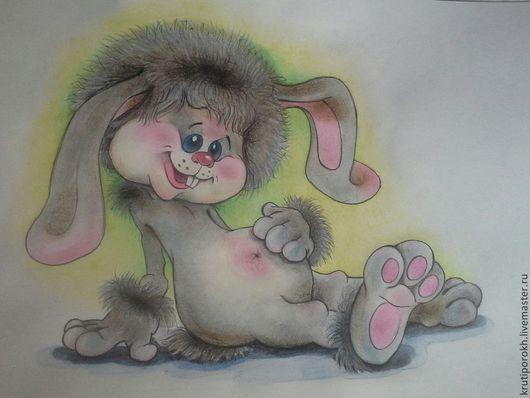 """Животные ручной работы. Ярмарка Мастеров - ручная работа. Купить акварель+ карандаши ЗАЯ серия""""малыш"""". Handmade. Серый, кролик, подарок"""