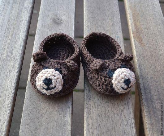 Для новорожденных, ручной работы. Ярмарка Мастеров - ручная работа. Купить Пинетки для мальчика Медвежата из шерсти мериноса. Handmade. Пинетки