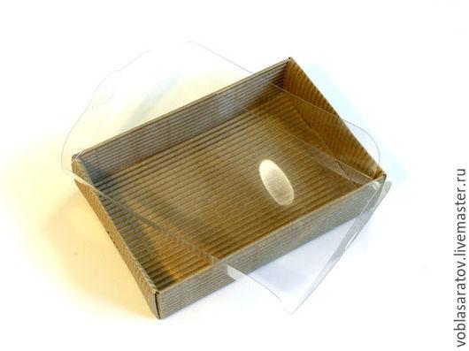 Упаковка ручной работы. Ярмарка Мастеров - ручная работа. Купить Коробка с прозрачной крышкой микрогофрокартон. Handmade. Коричневый, подарочная коробочка