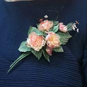 Украшения handmade. Livemaster - original item Silk flowers.Boutonniere of roses