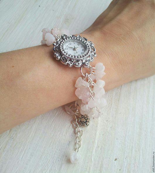 """Часы ручной работы. Ярмарка Мастеров - ручная работа. Купить Часы ручной работы """"Талисман любви"""" с розовым кварцем. Handmade."""