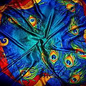 """Аксессуары ручной работы. Ярмарка Мастеров - ручная работа Шелковый платок -батик """"Перья"""". Handmade."""