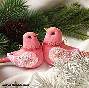 """Подарки к праздникам ручной работы. Ярмарка Мастеров - ручная работа """"Птицы в зимнем саду"""" Набор 2шт. Розовые птички. Шебби-шик.. Handmade."""