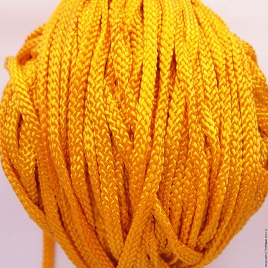 Для украшений ручной работы. Ярмарка Мастеров - ручная работа. Купить Шнур плоский полиэфирный 5 мм ярко-желтый. Handmade.