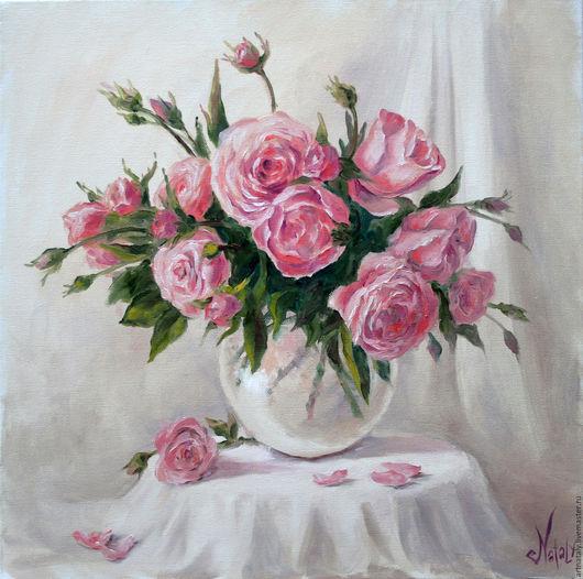 Картина маслом `Розы` (масло, холст 50х50) Автор: Ермакова Наталья (Nataly)