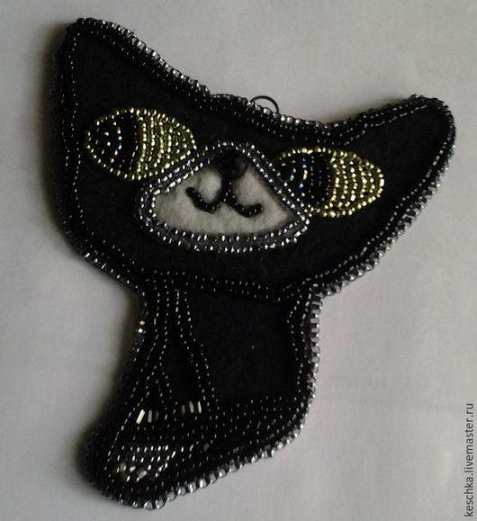 Магниты ручной работы. Ярмарка Мастеров - ручная работа. Купить Магнит Черный кот. Handmade. Черный, Вышивка бисером, магнит