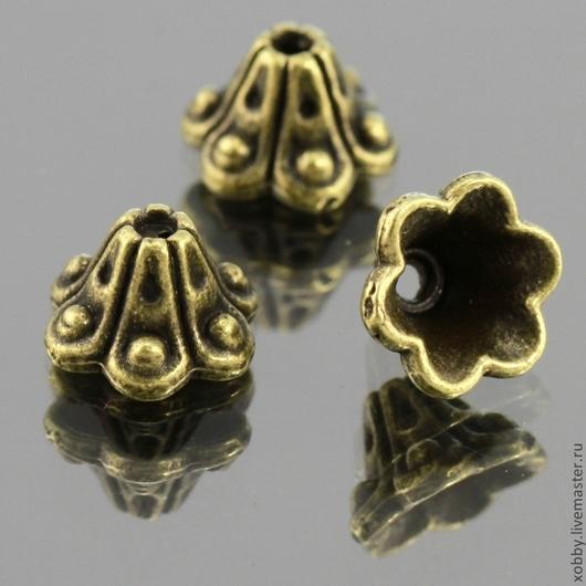 Шапочки для бусин в тибетском стиле Колокольчики для использования в сборке украшений\r\nМатериал сплав\r\nЦвет античная бронза
