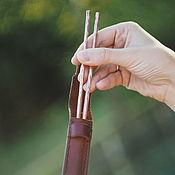 Утварь ручной работы. Ярмарка Мастеров - ручная работа Утварь: Кованые медные палочки для еды (хаси) в кожаном чехле. Handmade.