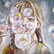"""Картины и панно ручной работы. Ярмарка Мастеров - ручная работа Пастель  """"Мыльные пузыри"""". Handmade."""