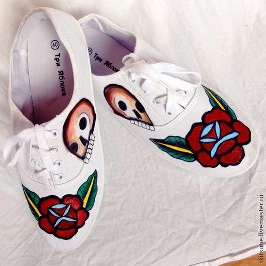 """Обувь ручной работы. Ярмарка Мастеров - ручная работа. Купить Кеды текстильные низкие """"Old school"""". Handmade. Разноцветный"""