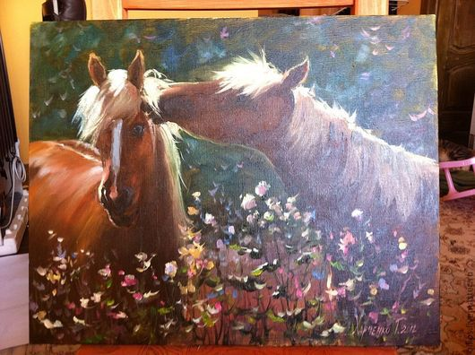 Животные ручной работы. Ярмарка Мастеров - ручная работа. Купить Лошади на лугу. Handmade. Лошади, цветы, зеленый, кобыла, кони